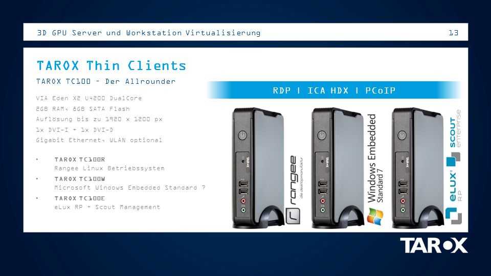 13 3D GPU Server und Workstation Virtualisierung TAROX Thin Clients TAROX TC100 – Der Allrounder VIA Eden X2 U4200 DualCore 2GB RAM, 8GB SATA Flash Au