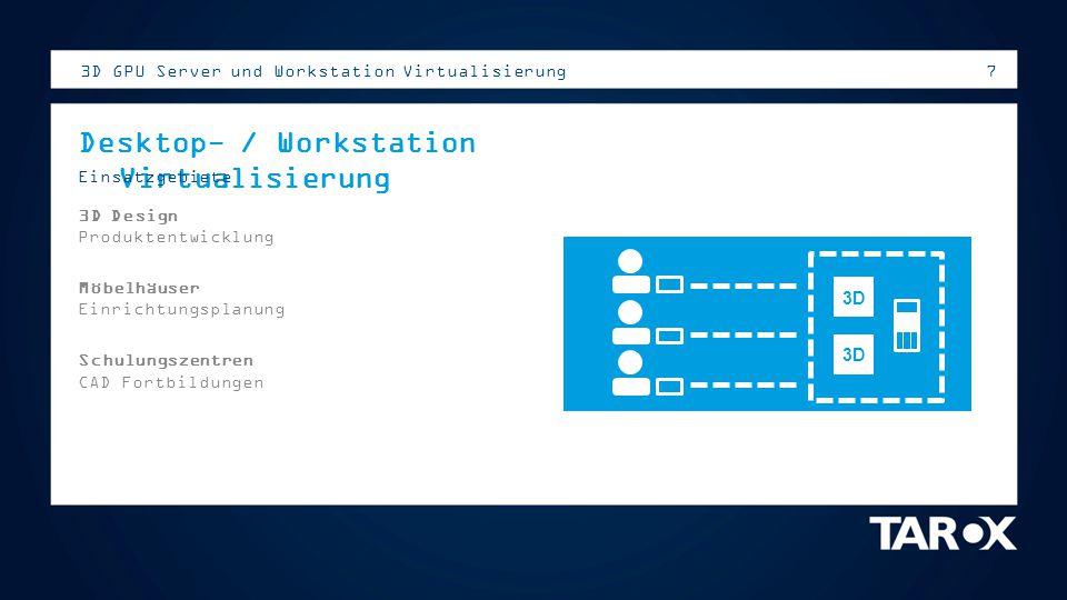 7 3D GPU Server und Workstation Virtualisierung Desktop- / Workstation Virtualisierung Einsatzgebiete 3D Design Produktentwicklung Möbelhäuser Einrich