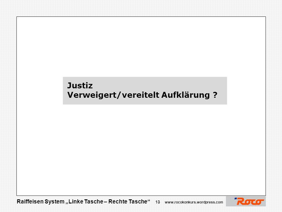 """Raiffeisen System """"Linke Tasche – Rechte Tasche"""" 12 www.rocokonkurs.wordpress.com Danke für Ihre Aufmerksamkeit  Jetzt sind Sie am Zug …. Über Spritz"""