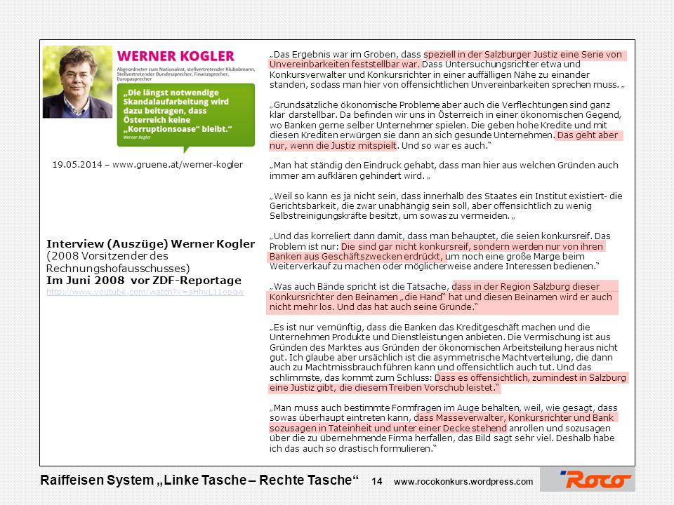 """Raiffeisen System """"Linke Tasche – Rechte Tasche"""" 13 www.rocokonkurs.wordpress.com Justiz Verweigert/vereitelt Aufklärung ?"""