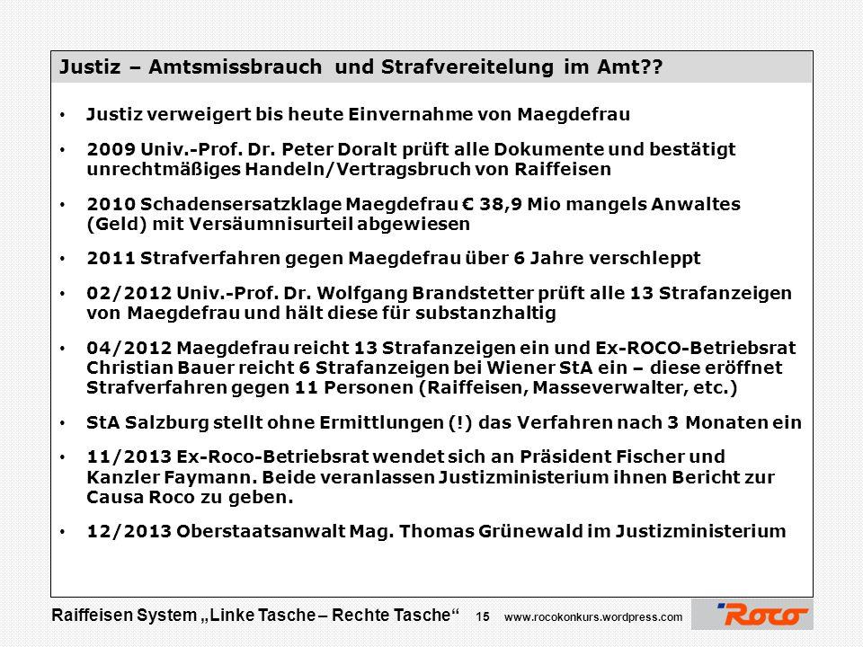 """Raiffeisen System """"Linke Tasche – Rechte Tasche"""" 14 www.rocokonkurs.wordpress.com """"Das Ergebnis war im Groben, dass speziell in der Salzburger Justiz"""