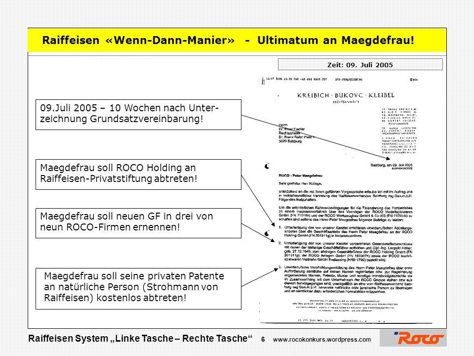 """Raiffeisen System """"Linke Tasche – Rechte Tasche"""" 5 www.rocokonkurs.wordpress.com Danke für Ihre Aufmerksamkeit  Jetzt sind Sie am Zug …."""