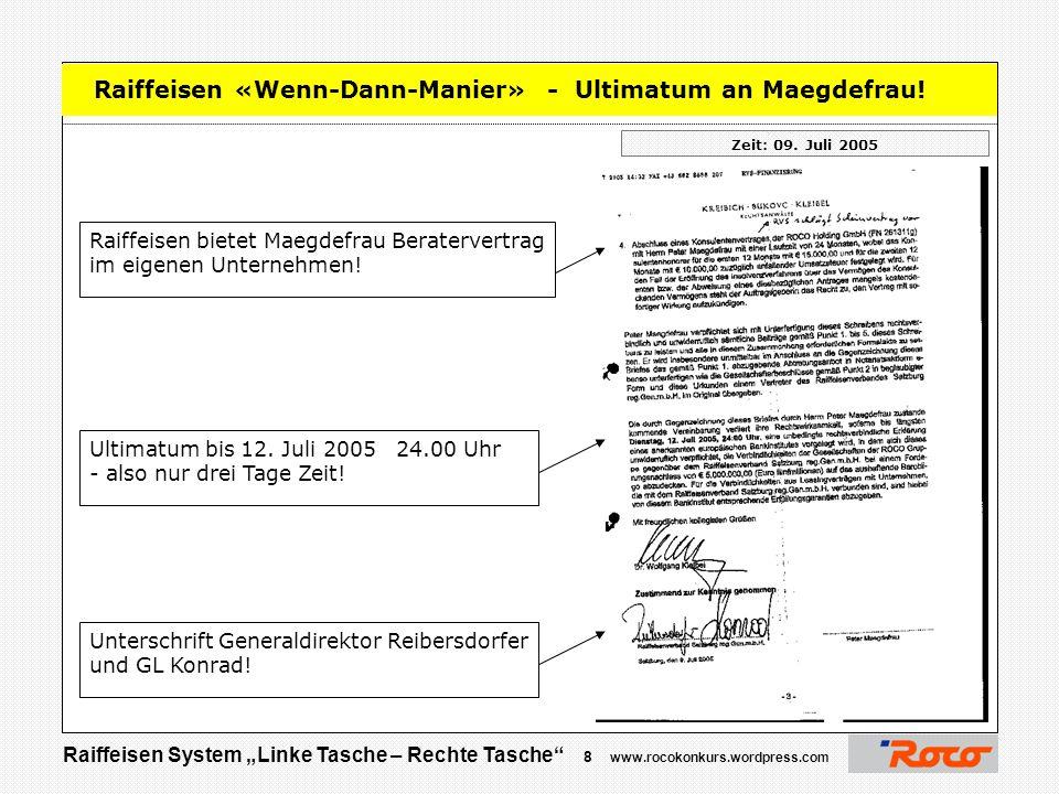 "Raiffeisen System ""Linke Tasche – Rechte Tasche"" 7 www.rocokonkurs.wordpress.com Raiffeisen Zeit: 09. Juli 2005 Maegdefrau soll vier der neun Firmen i"