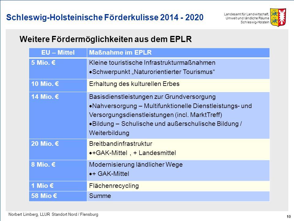 Landesamt für Landwirtschaft, Umwelt und ländliche Räume Schleswig-Holstein Schleswig-Holsteinische Förderkulisse 2014 - 2020 Weitere Fördermöglichkei