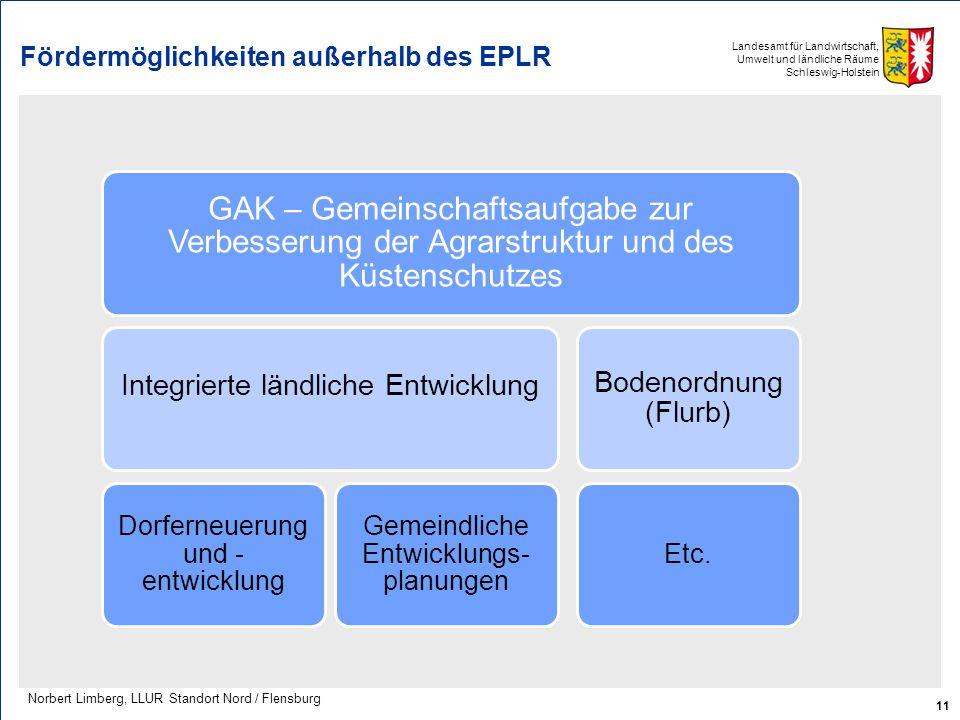 Landesamt für Landwirtschaft, Umwelt und ländliche Räume Schleswig-Holstein Fördermöglichkeiten außerhalb des EPLR 11 Norbert Limberg, LLUR Standort N