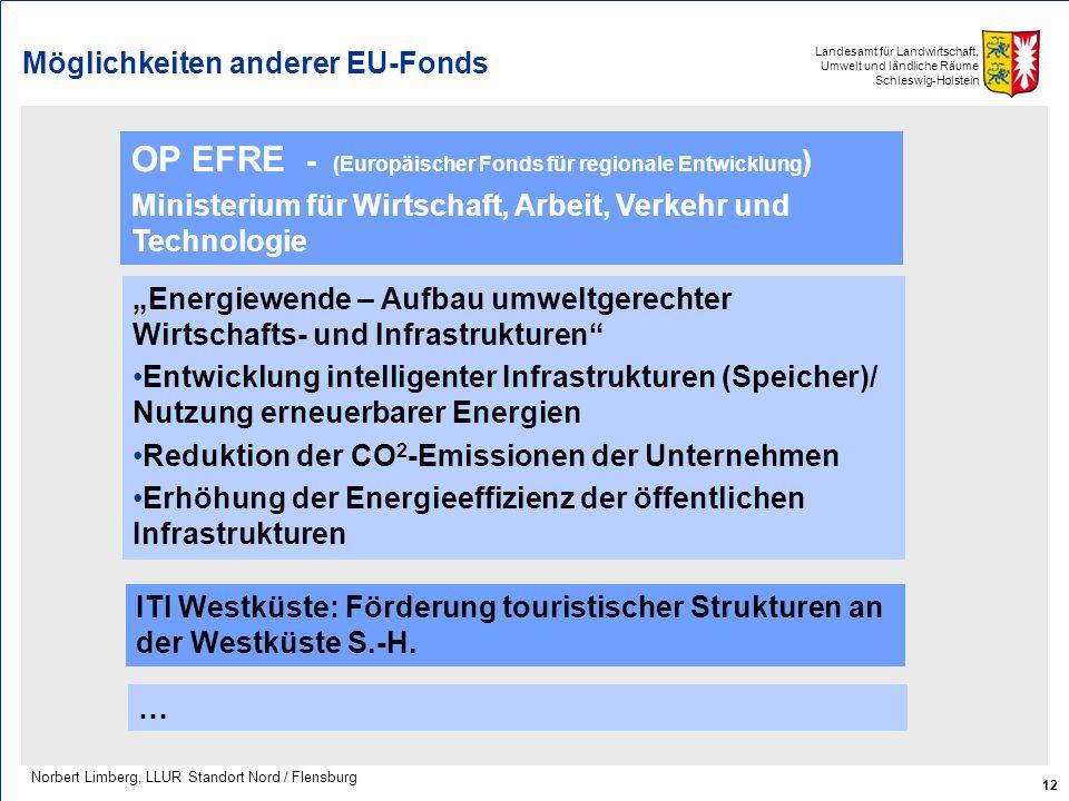 Landesamt für Landwirtschaft, Umwelt und ländliche Räume Schleswig-Holstein Möglichkeiten anderer EU-Fonds 12 Norbert Limberg, LLUR Standort Nord / Fl