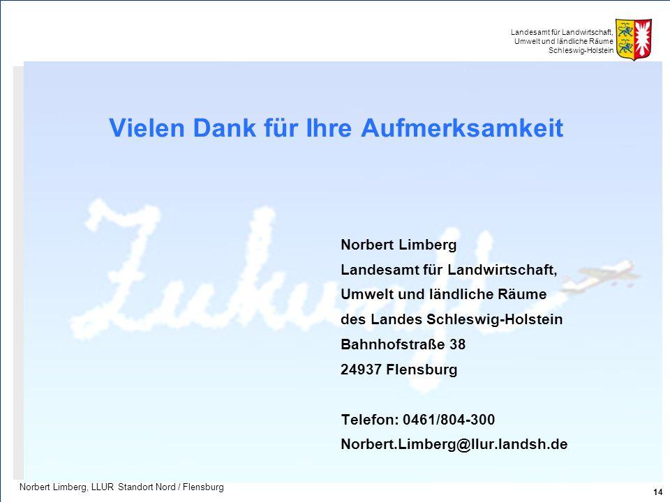 Landesamt für Landwirtschaft, Umwelt und ländliche Räume Schleswig-Holstein Vielen Dank für Ihre Aufmerksamkeit Norbert Limberg Landesamt für Landwirt