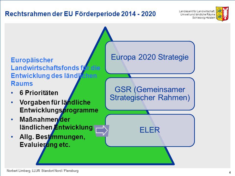 Landesamt für Landwirtschaft, Umwelt und ländliche Räume Schleswig-Holstein Rechtsrahmen der EU Förderperiode 2014 - 2020 Europa 2020 Strategie GSR (G
