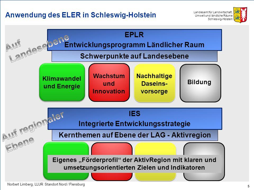 Landesamt für Landwirtschaft, Umwelt und ländliche Räume Schleswig-Holstein Anwendung des ELER in Schleswig-Holstein 5 Norbert Limberg, LLUR Standort