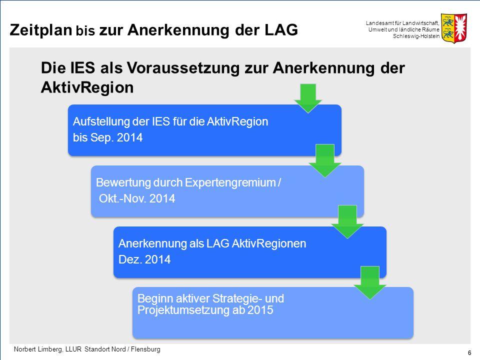 Landesamt für Landwirtschaft, Umwelt und ländliche Räume Schleswig-Holstein Zeitplan bis zur Anerkennung der LAG 6 Norbert Limberg, LLUR Standort Nord