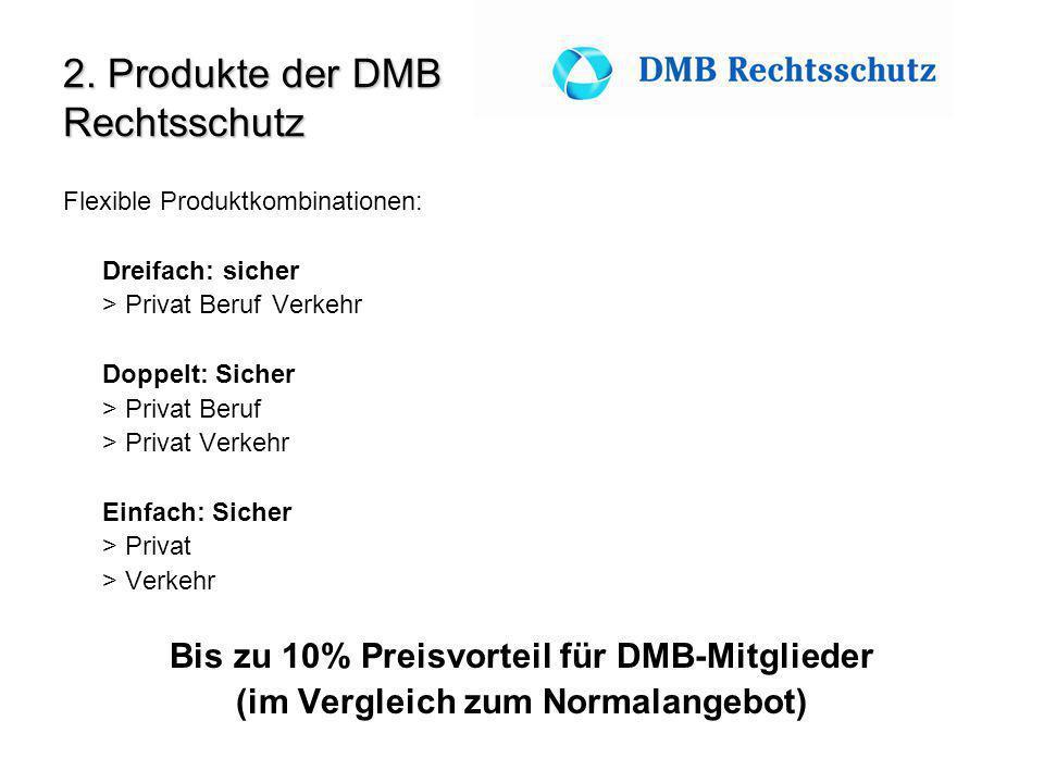 2. Produkte der DMB Rechtsschutz Flexible Produktkombinationen: Dreifach: sicher > Privat BerufVerkehr Doppelt: Sicher > Privat Beruf > Privat Verkehr