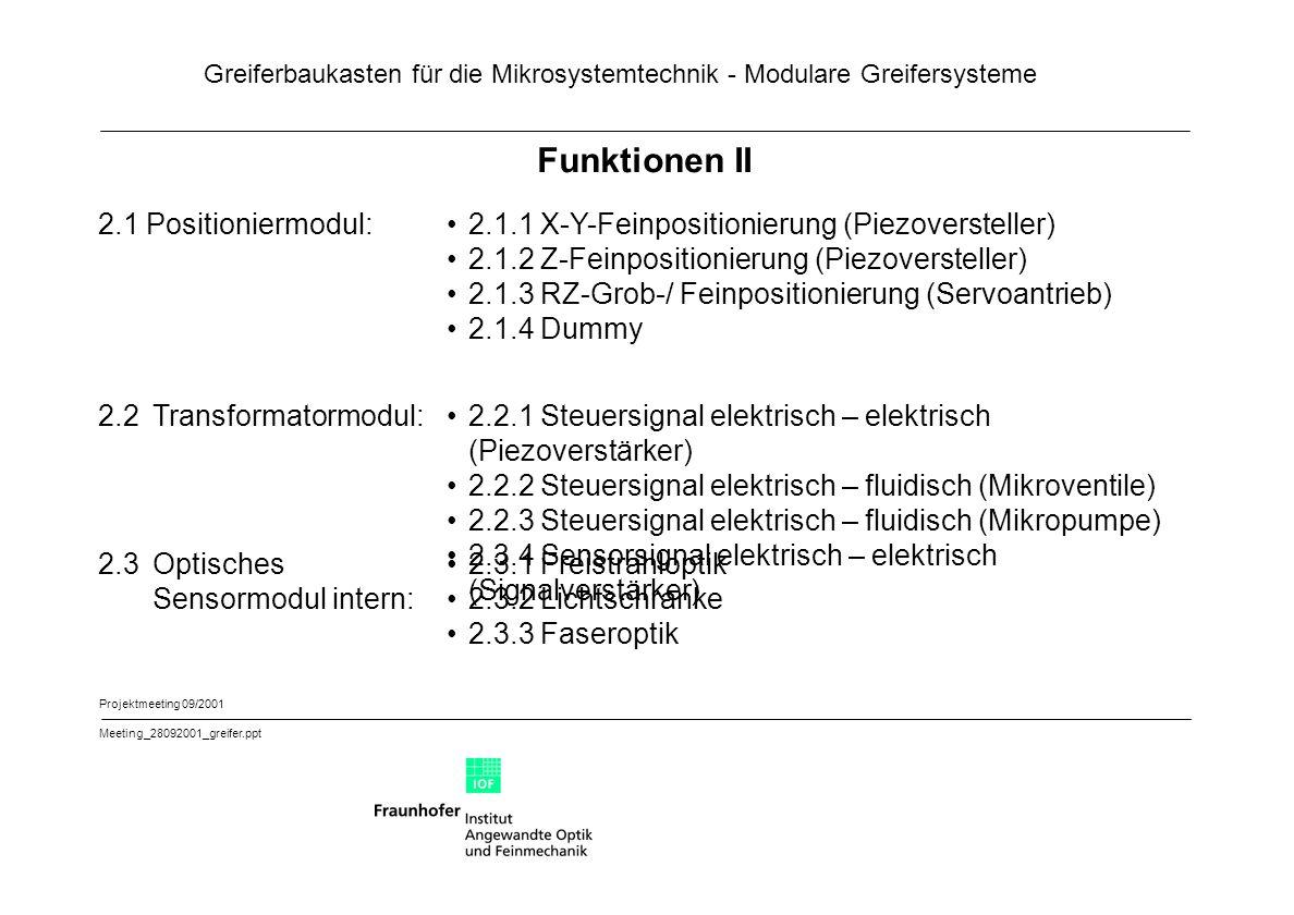 Greiferbaukasten für die Mikrosystemtechnik - Modulare Greifersysteme Projektmeeting 09/2001 Meeting_28092001_greifer.ppt Funktionen II 2.1 Positionie