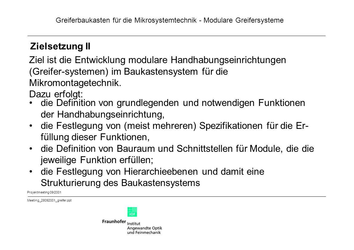 Greiferbaukasten für die Mikrosystemtechnik - Modulare Greifersysteme Projektmeeting 09/2001 Meeting_28092001_greifer.ppt Schnittstellen III Schnittstelle 4:Ankopplung von Modulen der Hierarchiebene 4 an die Module 1.1 (Überspringen zweier Hierarchieebenen), 2.1 (Über- springen einer Hierarchieebene), 3 und 1.2 Mechanische Schnittstelle zu den Modulen 1.1 bzw.