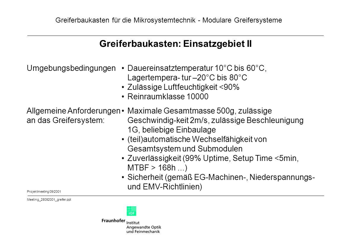 Greiferbaukasten für die Mikrosystemtechnik - Modulare Greifersysteme Projektmeeting 09/2001 Meeting_28092001_greifer.ppt Greiferbaukasten: Einsatzgeb