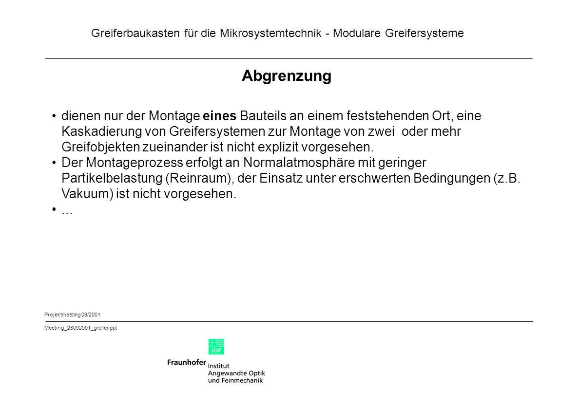 Greiferbaukasten für die Mikrosystemtechnik - Modulare Greifersysteme Projektmeeting 09/2001 Meeting_28092001_greifer.ppt Baukastenstruktur Übergeordnetes System (Montagemaschine mit globalem Positioniersystem) Schnittstelle 1.1 Schnittstelle 1.2 1.3 Optisches Sensormodul extern Schnittstelle 1.3 1.1 Justiermodul / Trägermodul Schnittstelle 2 2.3 Optisches Sensormodul intern 2.1 Positioniermodul 2.2 Transfor- matormodul Schnittstelle 3 3 Fügehilfe- / Fügesensorikmodul Schnittstelle 4 4 Greifmodul Antrieb / Träger Schnittstelle 5 4 Greifmodul Kinematik / Wirksystem 1.2 Busmodul