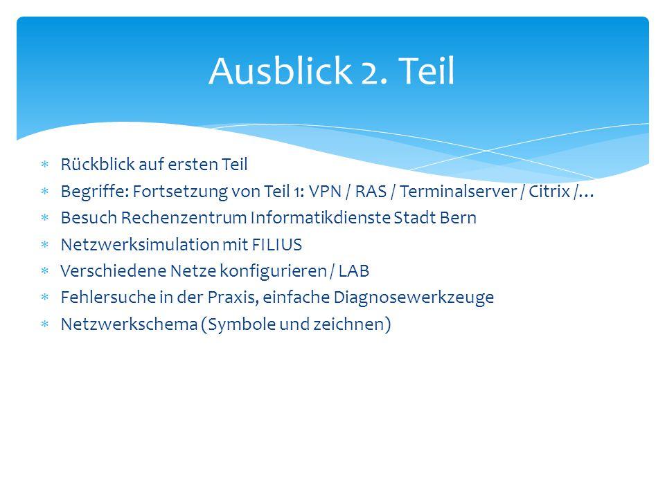  Rückblick auf ersten Teil  Begriffe: Fortsetzung von Teil 1: VPN / RAS / Terminalserver / Citrix /…  Besuch Rechenzentrum Informatikdienste Stadt
