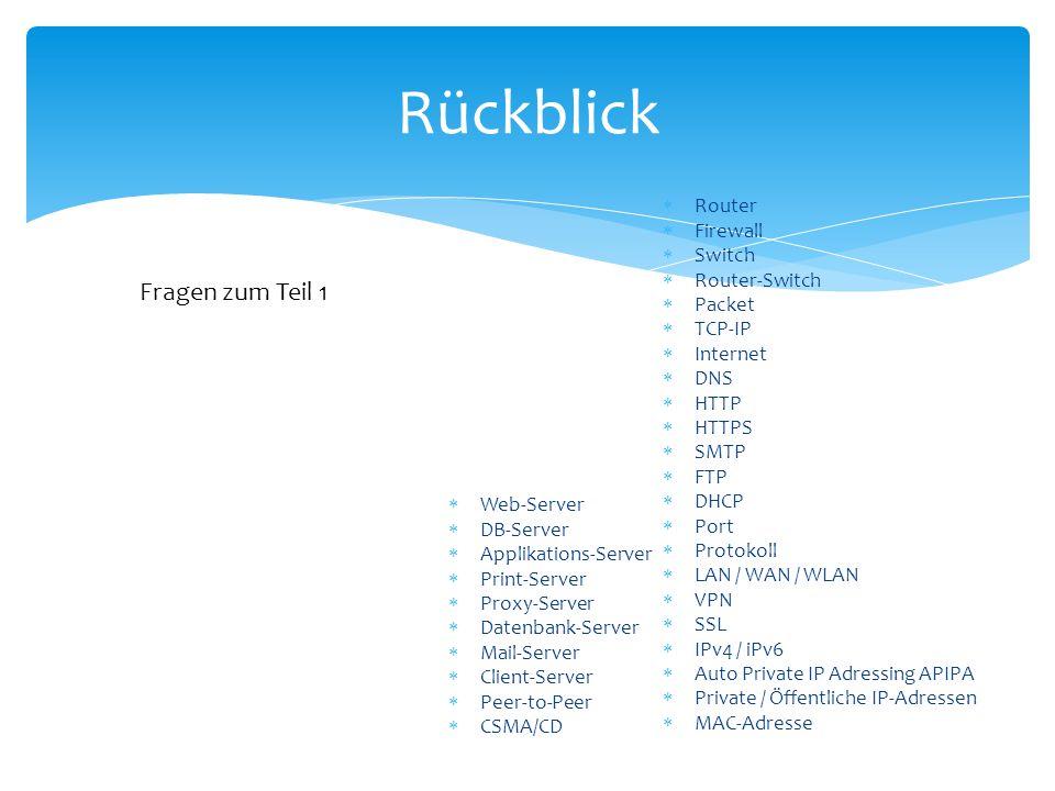 Rückblick  Router  Firewall  Switch  Router-Switch  Packet  TCP-IP  Internet  DNS  HTTP  HTTPS  SMTP  FTP  DHCP  Port  Protokoll  LAN