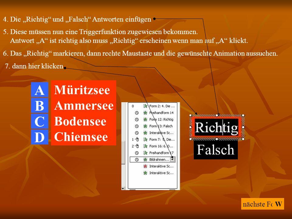 """nächste Folie 4. Die """"Richtig"""" und """"Falsch"""" Antworten einfügen A Müritzsee Ammersee Bodensee Chiemsee W 5. Diese müssen nun eine Triggerfunktion zugew"""