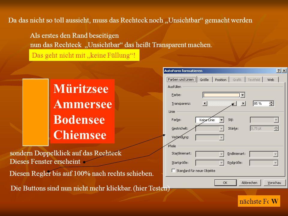 "nächste Folie A Müritzsee Ammersee Bodensee Chiemsee W B C D Richtig Falsch Da das nicht so toll aussieht, muss das Rechteck noch ""Unsichtbar"" gemacht"