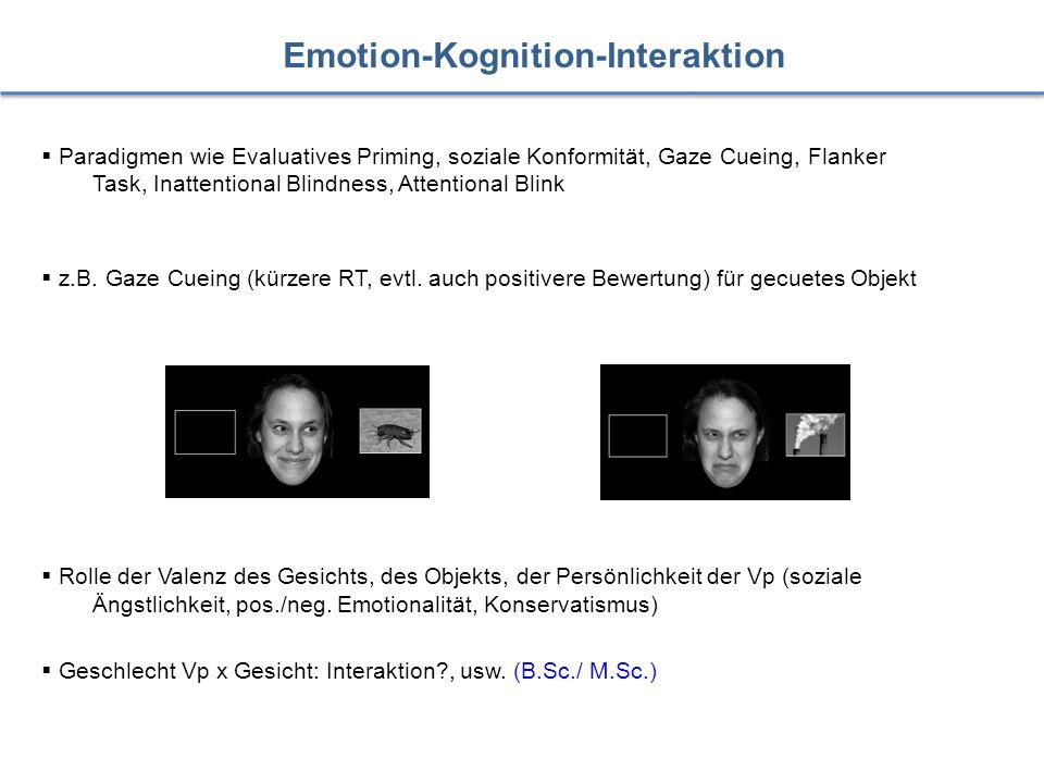 Emotion-Kognition-Interaktion  Paradigmen wie Evaluatives Priming, soziale Konformität, Gaze Cueing, Flanker Task, Inattentional Blindness, Attention