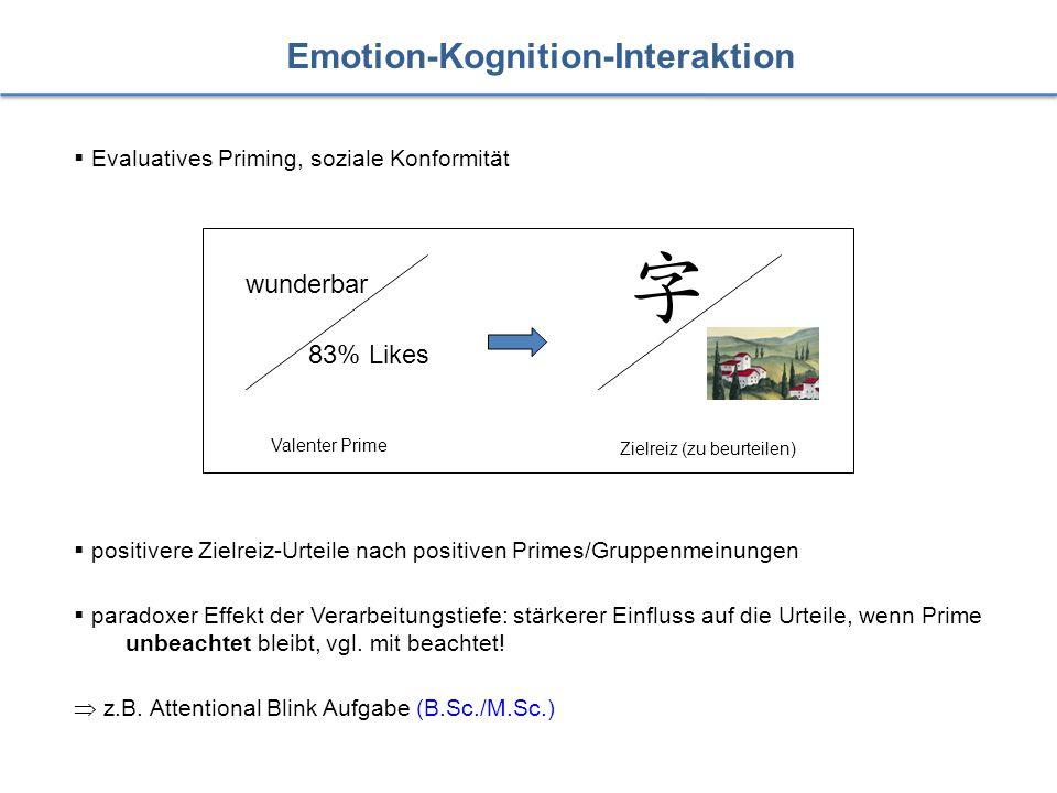 Emotion-Kognition-Interaktion  Evaluatives Priming, soziale Konformität Zielreiz (zu beurteilen) wunderbar 83% Likes Valenter Prime  positivere Ziel