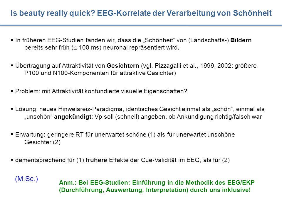  Lange bekannt und durch viele MRT/PET-Studien gestützt: rezeptive Sprachverarbeitung im Wernicke-Areal (Rechtshänder: links parieto-temporal)  aber: umfangreiche EEG-Literatur zur Sprachverarbeitung seit ca.