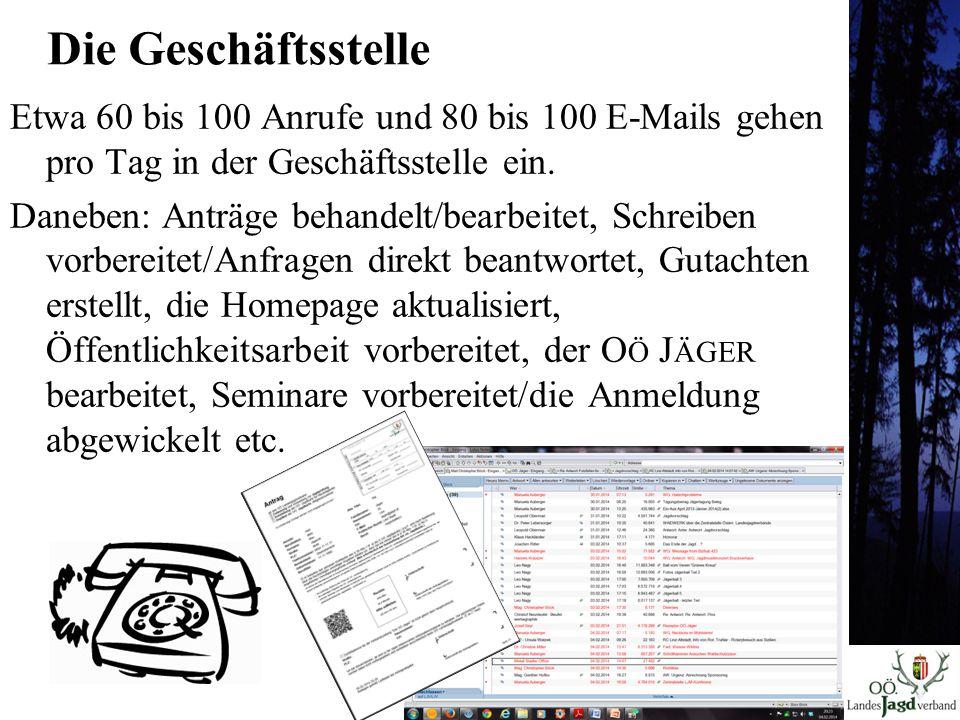 Die Geschäftsstelle Etwa 60 bis 100 Anrufe und 80 bis 100 E-Mails gehen pro Tag in der Geschäftsstelle ein.