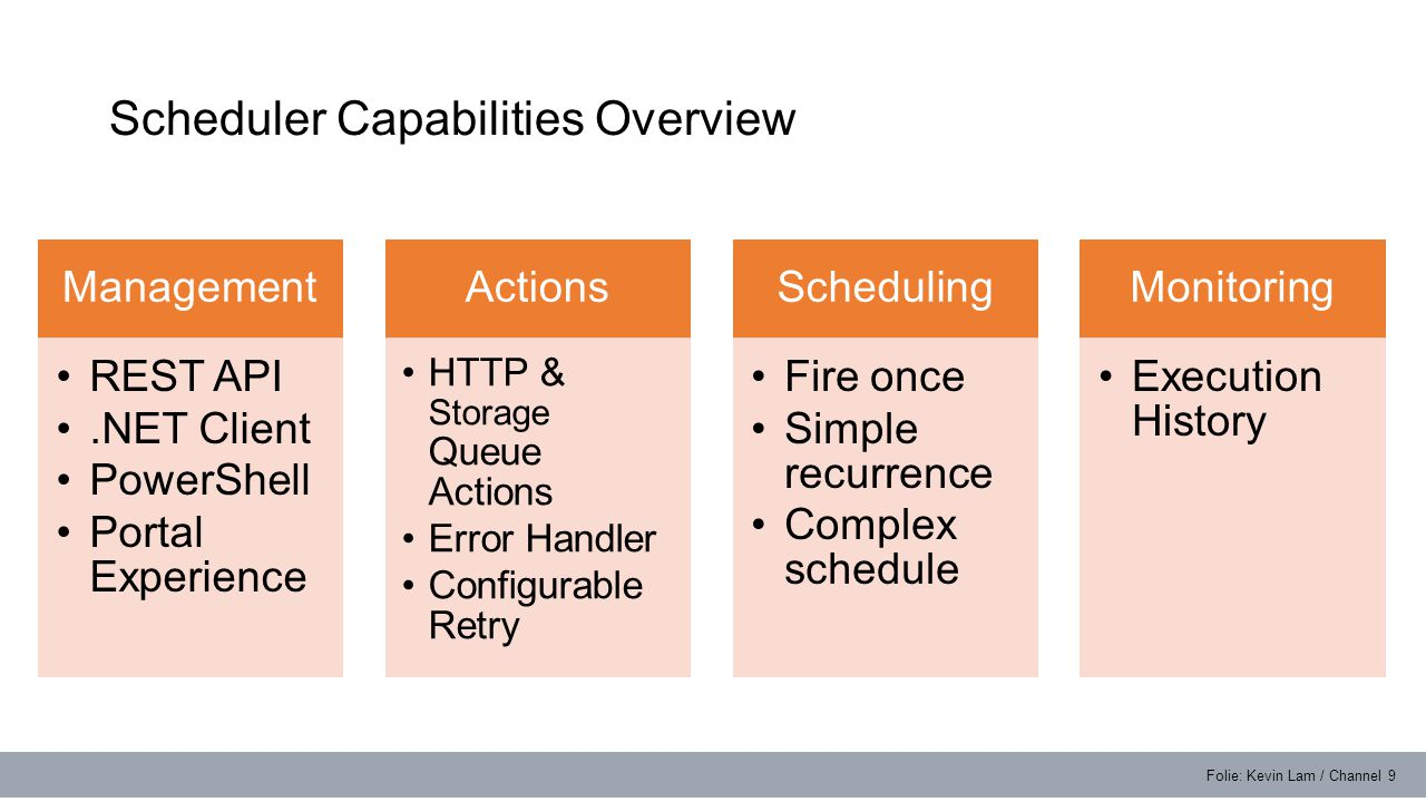 Scheduler Capabilities Overview Folie: Kevin Lam / Channel 9