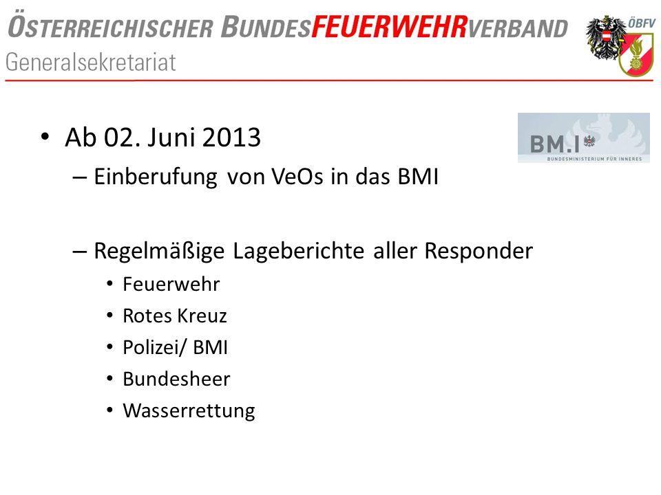 Ab 02. Juni 2013 – Einberufung von VeOs in das BMI – Regelmäßige Lageberichte aller Responder Feuerwehr Rotes Kreuz Polizei/ BMI Bundesheer Wasserrett