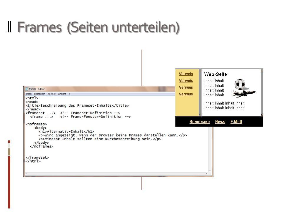 Frames (Seiten unterteilen)