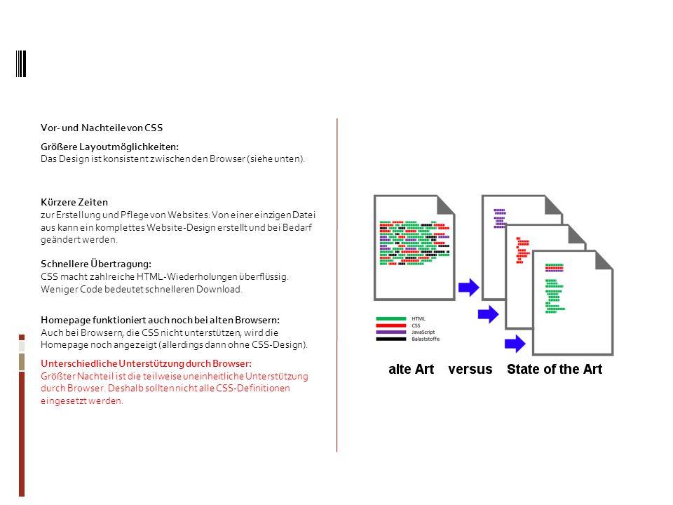 Vor- und Nachteile von CSS Größere Layoutmöglichkeiten: Das Design ist konsistent zwischen den Browser (siehe unten). Kürzere Zeiten zur Erstellung un