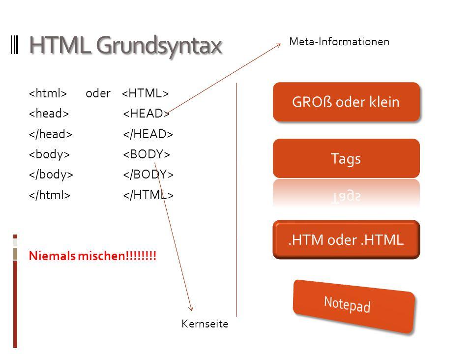 HTML Grundsyntax oder Niemals mischen!!!!!!!! GROß oder klein.HTM oder.HTML Meta-Informationen Kernseite