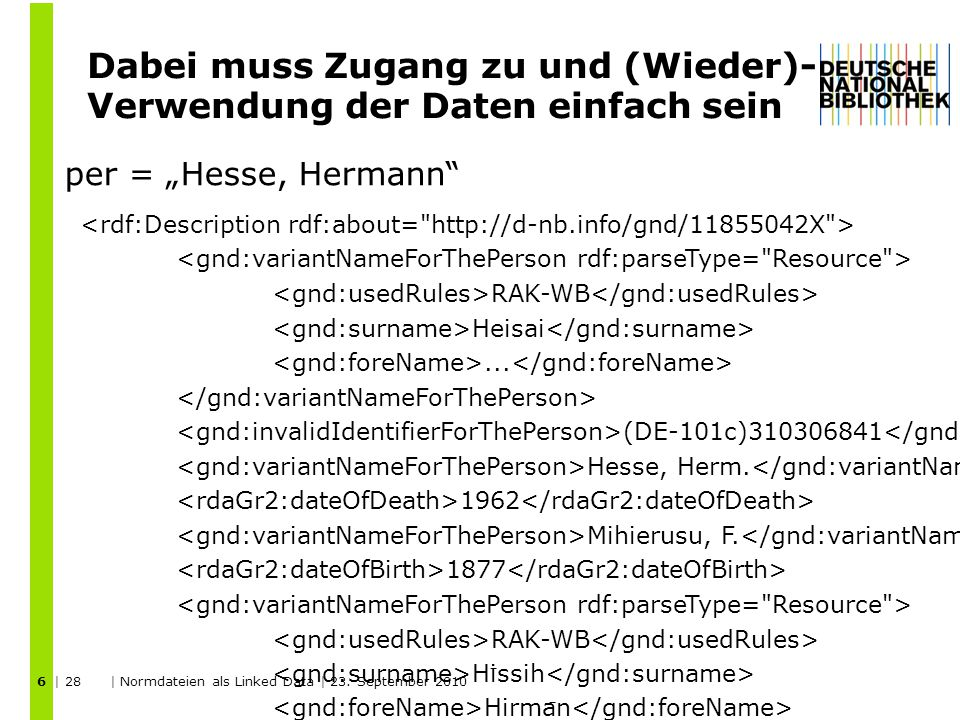 Wir verlinken zu LCSH, Rameau, VIAF und DBPedia 17 DNB VIAF DBPedia LCSH Rameau | 28 | Normdateien als Linked Data | 23.