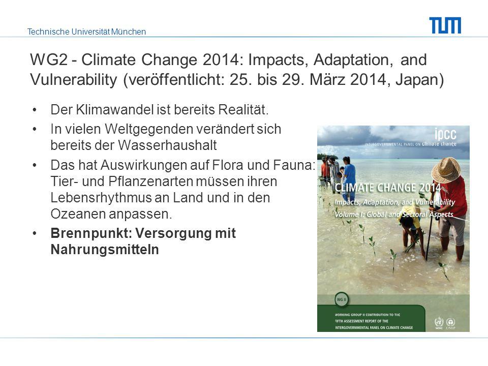 Technische Universität München WG2 - Climate Change 2014: Impacts, Adaptation, and Vulnerability (veröffentlicht: 25. bis 29. März 2014, Japan) Der Kl