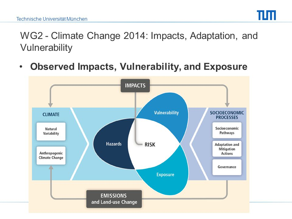 Technische Universität München Observed Impacts, Vulnerability, and Exposure WG2 - Climate Change 2014: Impacts, Adaptation, and Vulnerability