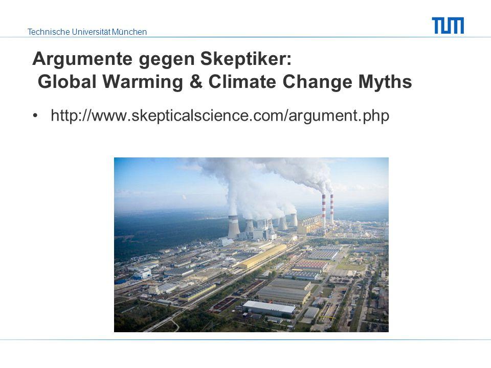 Technische Universität München Argumente gegen Skeptiker: Global Warming & Climate Change Myths http://www.skepticalscience.com/argument.php