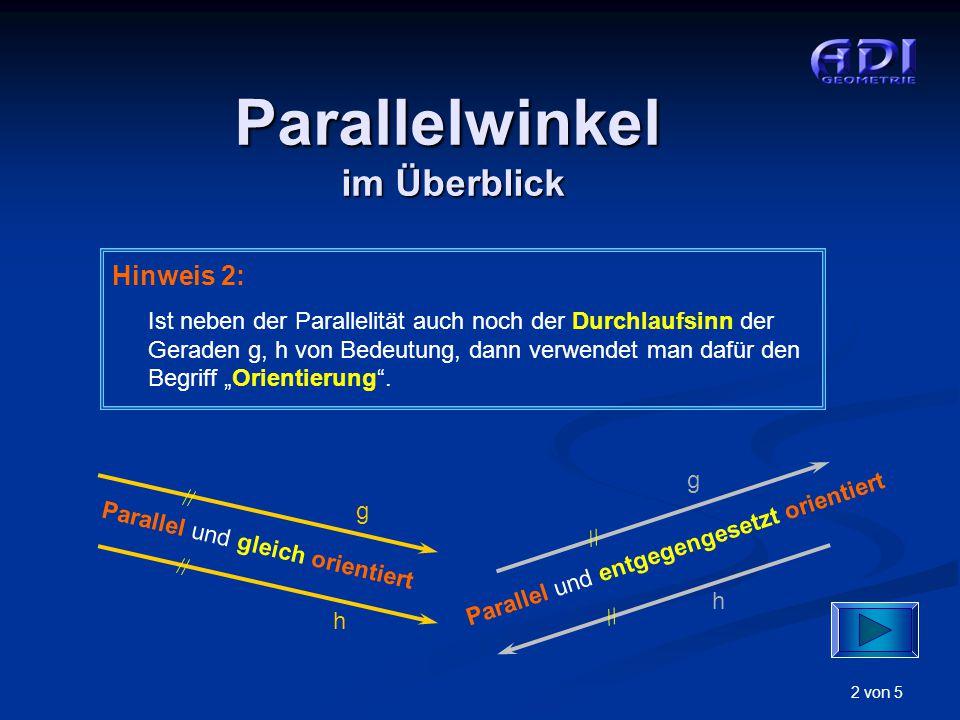 3 von 5 Parallelwinkel Gleich große Parallelwinkel Supplementäre Parallelwinkel Es gibt: Erste Möglichkeit … S1S1 a1a1 b1b1 a2a2 b2b2 S2S2 22 11 Geg.: Winkel  1 durch Scheitel S 1 und Schenkel a 1, b 1 Supplementäre Parallelwinkel Entsprechende Winkelschenkel (a 1,a 2 ), (b 1,b 2 ) sind parallel und gleich orientiert.