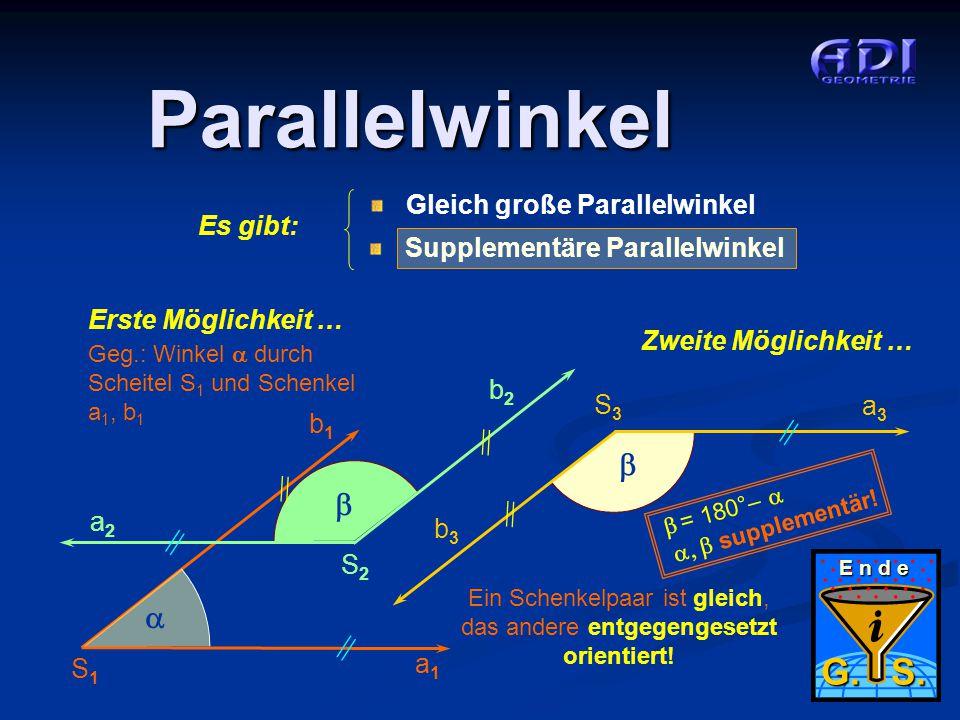 5 von 5 Parallelwinkel Geg.: Winkel  durch Scheitel S 1 und Schenkel a 1, b 1 a1a1 b1b1 S1S1  a2a2 b2b2  S2S2 E n d e G. S. Erste Möglichkeit … Gle