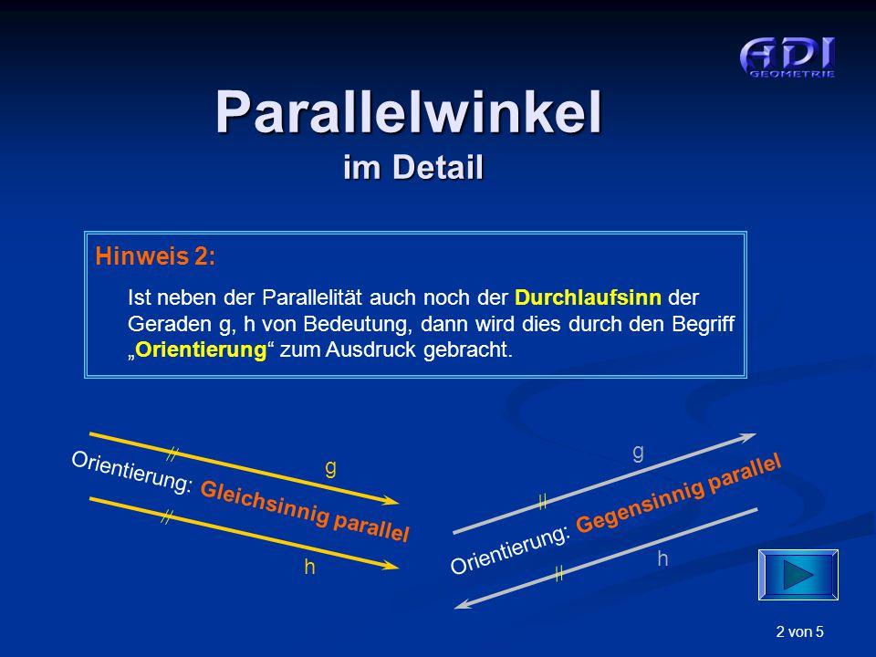 """2 von 5 Hinweis 2: Ist neben der Parallelität auch noch der Durchlaufsinn der Geraden g, h von Bedeutung, dann wird dies durch den Begriff """"Orientieru"""