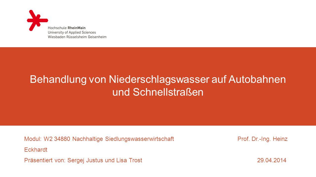 Behandlung von Niederschlagswasser auf Autobahnen und Schnellstraßen Modul: W2 34880 Nachhaltige SiedlungswasserwirtschaftProf.