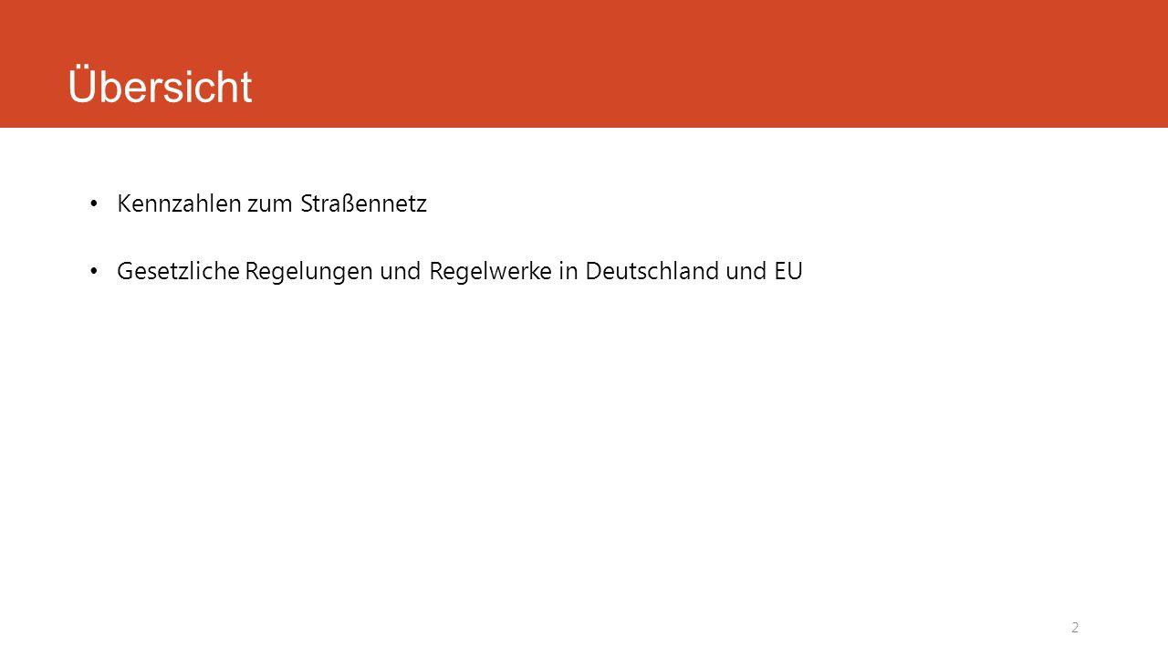 Übersicht Kennzahlen zum Straßennetz Gesetzliche Regelungen und Regelwerke in Deutschland und EU 2