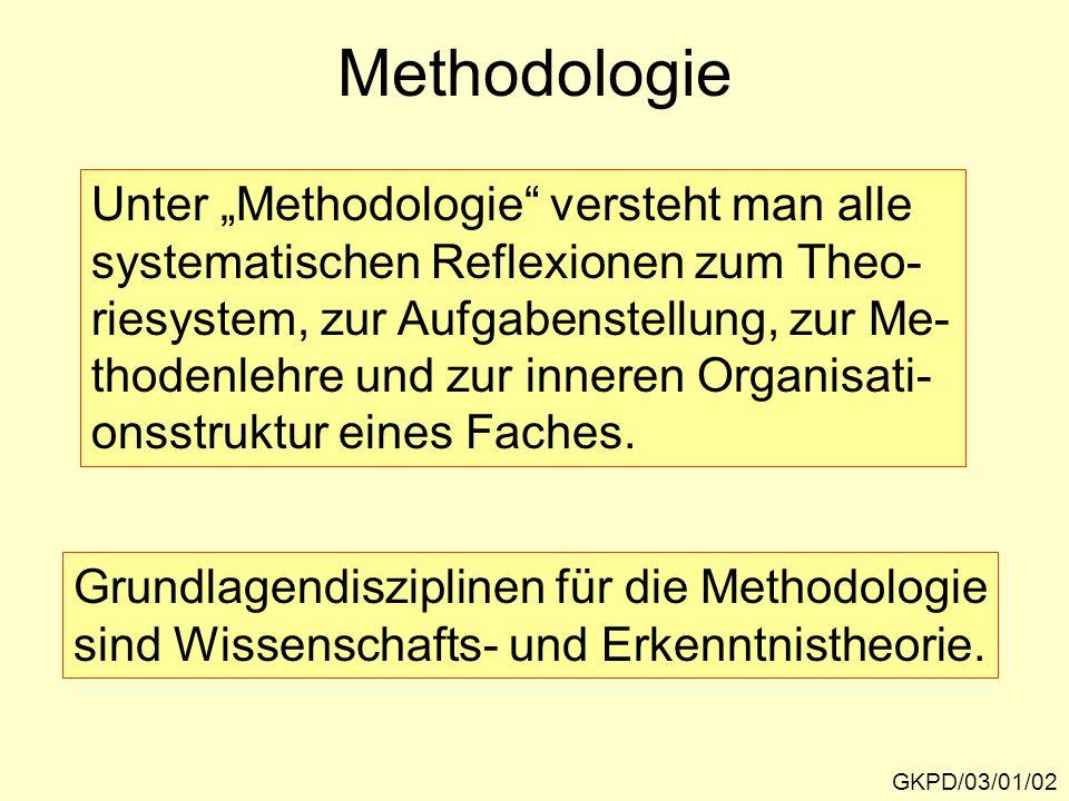 """Methodologie GKPD/03/01/02 Unter """"Methodologie"""" versteht man alle systematischen Reflexionen zum Theo- riesystem, zur Aufgabenstellung, zur Me- thoden"""