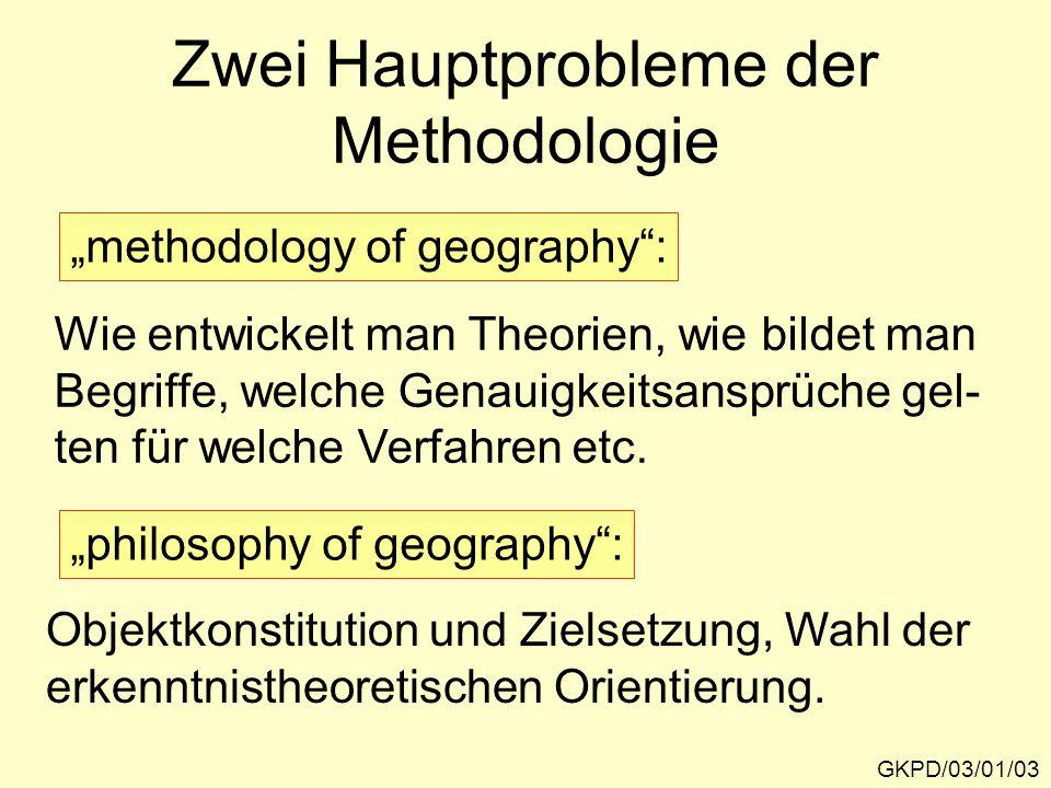 Zwei Hauptprobleme der Methodologie GKPD/03/01/03 Wie entwickelt man Theorien, wie bildet man Begriffe, welche Genauigkeitsansprüche gel- ten für welche Verfahren etc.
