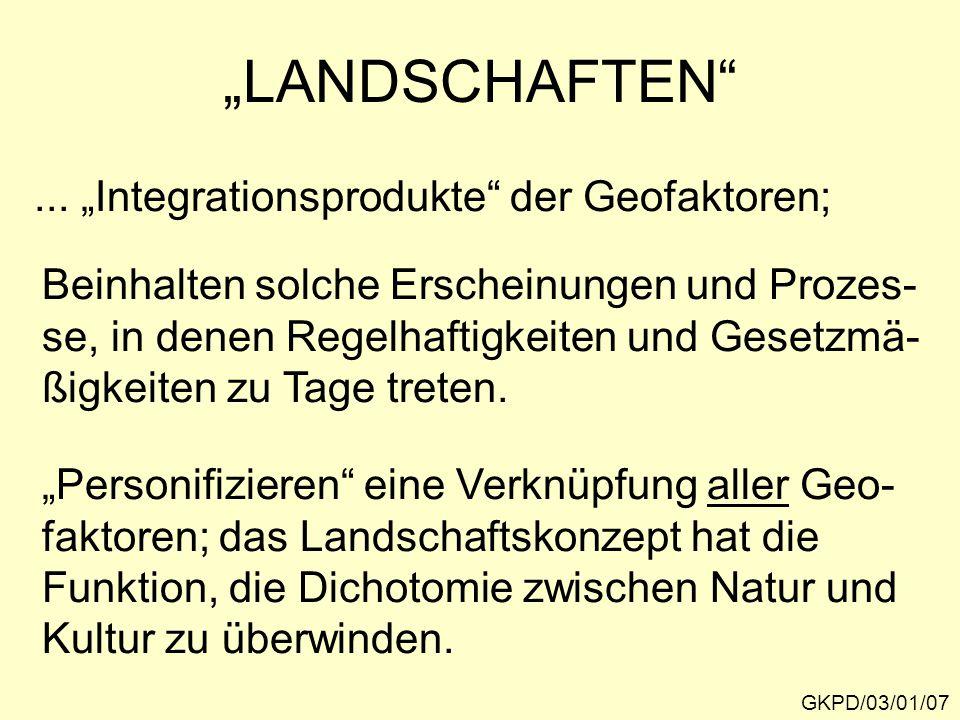 """""""LANDSCHAFTEN"""" GKPD/03/01/07... """"Integrationsprodukte"""" der Geofaktoren; Beinhalten solche Erscheinungen und Prozes- se, in denen Regelhaftigkeiten und"""