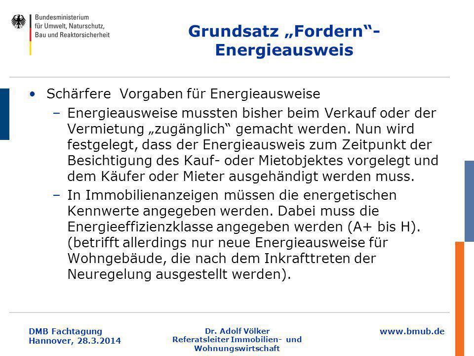 """www.bmub.de DMB Fachtagung Hannover, 28.3.2014 Grundsatz """"Fordern""""- Energieausweis Schärfere Vorgaben für Energieausweise –Energieausweise mussten bis"""