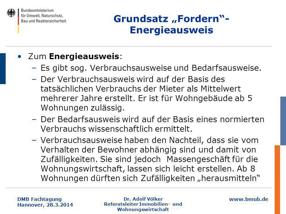 """www.bmub.de DMB Fachtagung Hannover, 28.3.2014 Grundsatz """"Fordern""""- Energieausweis Zum Energieausweis: –Es gibt sog. Verbrauchsausweise und Bedarfsaus"""