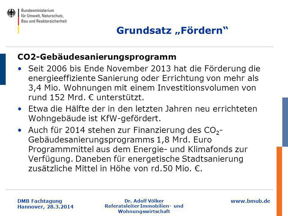 """www.bmub.de DMB Fachtagung Hannover, 28.3.2014 Grundsatz """"Fördern"""" CO2-Gebäudesanierungsprogramm Seit 2006 bis Ende November 2013 hat die Förderung di"""