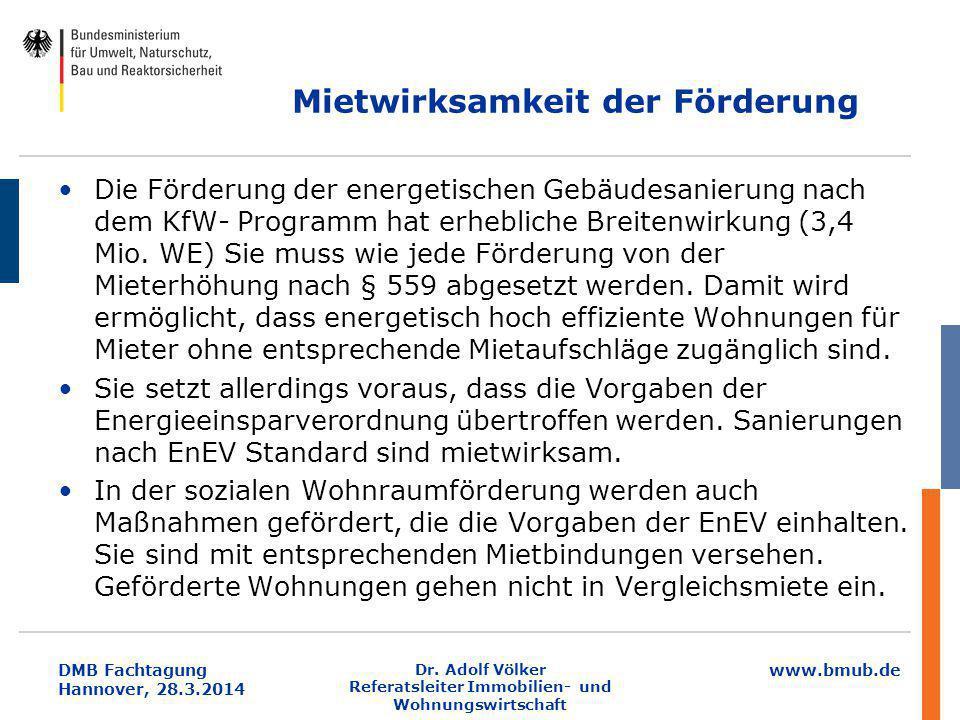 www.bmub.de DMB Fachtagung Hannover, 28.3.2014 Mietwirksamkeit der Förderung Die Förderung der energetischen Gebäudesanierung nach dem KfW- Programm h