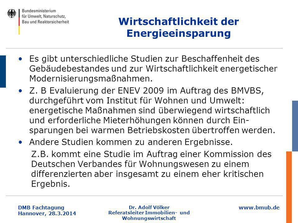 www.bmub.de DMB Fachtagung Hannover, 28.3.2014 Wirtschaftlichkeit der Energieeinsparung Es gibt unterschiedliche Studien zur Beschaffenheit des Gebäud