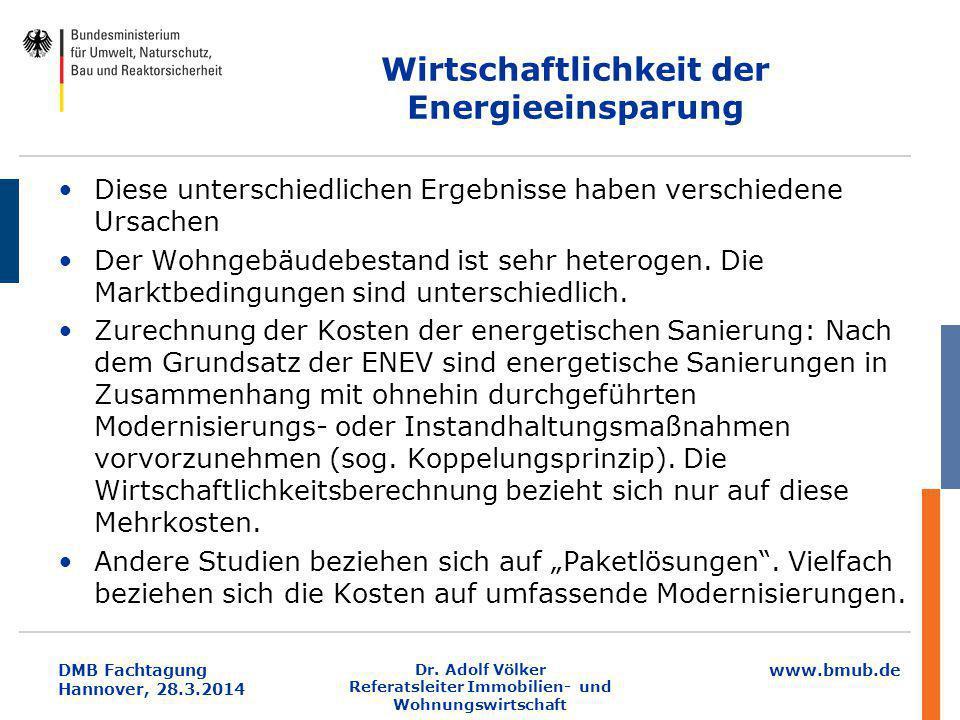 www.bmub.de DMB Fachtagung Hannover, 28.3.2014 Wirtschaftlichkeit der Energieeinsparung Diese unterschiedlichen Ergebnisse haben verschiedene Ursachen